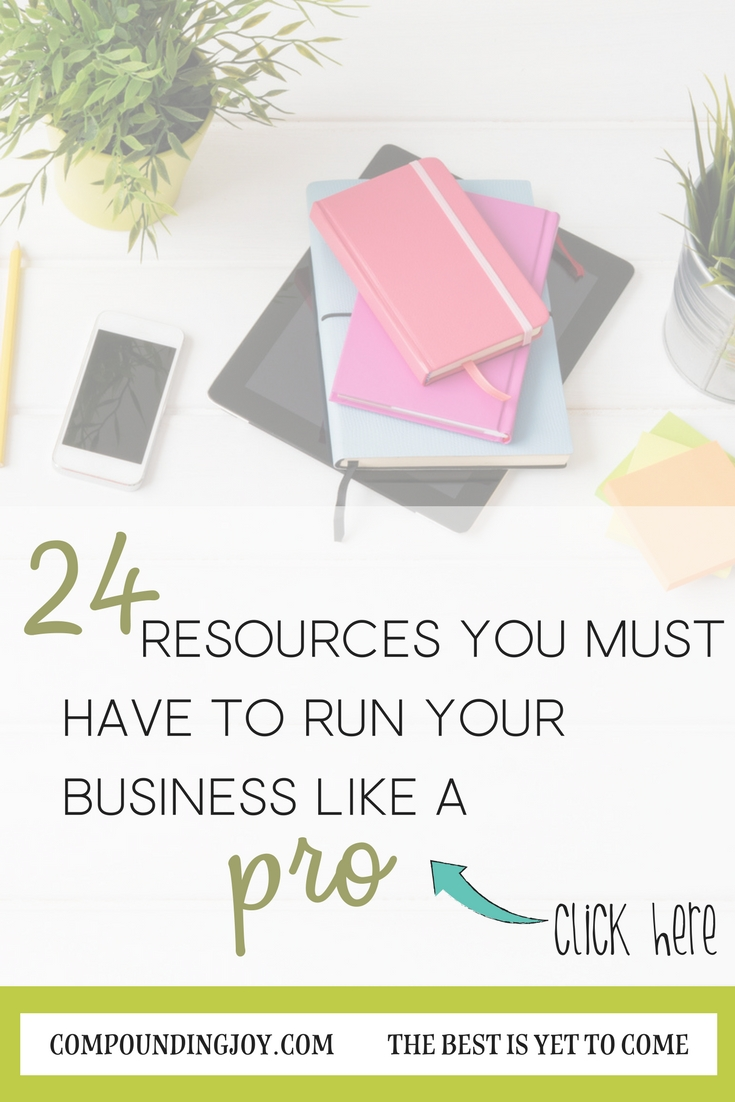 24 Resources You Must Have to Run Your Business Like a Pro! Compounding Joy | Productivity Apps | Learn to Blog courses | Personal Finance Apps | Blog and Website Applications and Programs